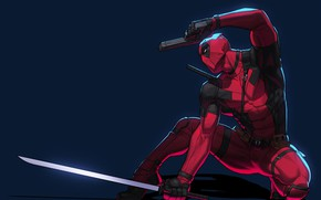 Картинка поза, пистолет, меч, арт, костюм, комиксы, Deadpool, Дедпул