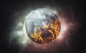 Картинка космос, сияние, планета, звёзды, очаги