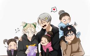 Картинка радость, дети, аниме, арт, причёски, Yuri on Ice, Юрий на льду, victor nikiforov, юри катсуки, …