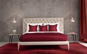 Картинка дизайн, лампы, кровать, интерьер, подушки, спальня, модерн