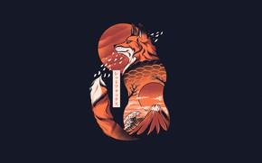 Картинка Минимализм, Япония, Лиса, Стиль, Фон, Fox, Japan, Арт, Art, Style, Background, Животное, Minimalism, Animal, by …