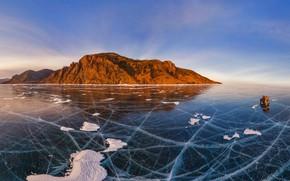 Картинка лёд, Байкал, Россия, автомобиль