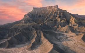 Картинка небо, облака, горы, скалы, рассвет, склоны, вершина, каньон, Гранд-Каньон, рельеф, каньоны