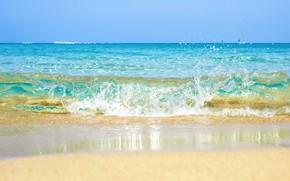 Обои песок, море, волны, пляж, лето, summer, beach, sea, ocean, blue, seascape, sand, wave