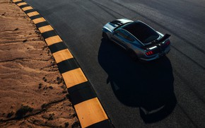 Картинка асфальт, Mustang, Ford, Shelby, GT500, 2019, серо-серебристый
