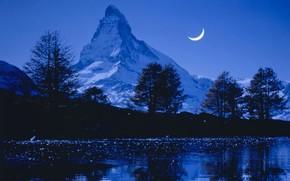 Картинка небо, снег, деревья, горы, ночь, природа, река, скалы, луна, Швейцария, Альпы, Маттерхорн