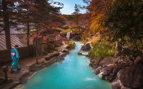 Картинка осень, лес, трава, девушка, деревья, ручей, камни, дома, Таиланд, наряд, Phuket