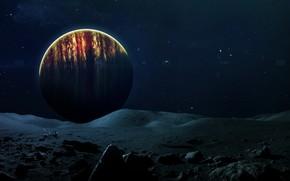 Картинка Робот, Планета, Космос, Вид, Камни, Surface, Арт, Space, Art, Planet, Поверхность, View, Stones, Дрон, Little …