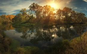 Картинка осень, небо, вода, солнце, облака, свет, Деревья, Алексей Ник, Истра