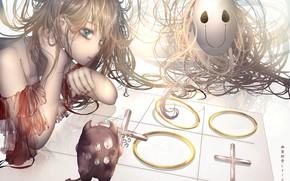 Картинка девушка, маска, играют, крестики-нолики