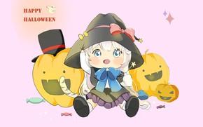 Картинка праздник, аниме, арт, тыква, хэллоуин, Happy Halloween, 지은 송