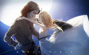Картинка девушка, объятия, парень, двое, Ангел кровопролития, Satsuriku no Tenshi