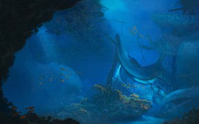 Картинка Вода, Океан, Море, Крушение, Корабль, Рыба, Дно, Fish, Рыбки, Water, Ocean, Sea, Concept Art, Бак, ...
