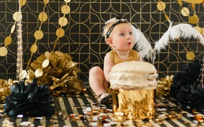 Картинка взгляд, платье, девочка, Baby, малышка, Cake, День Рождения, Happy birthday