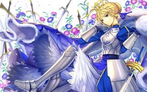 Картинка цветы, доспехи, сейбер, Судьба ночь схватки, Fate / Stay Night