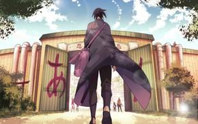 Картинка встреча, ворота, сумка, плащ, друзья, Sasuke Uchiha, Sakura Haruno, возвращение домой, Naruto Uzumaki, Naruto Shippuden, …
