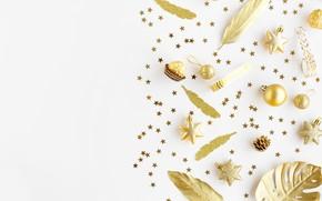 Картинка праздник, игрушки, конфеты, Новый год, golden, Christmas, декор, шоколадные, decoration, Celebration, Valeria Aksakova