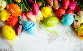 Картинка цветы, colorful, Пасха, тюльпаны, happy, flowers, tulips, Easter, eggs, крашеные яйца