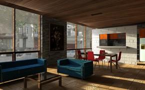 Картинка интерьер, диваны, гостиная, столовая