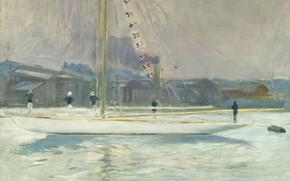 Картинка картина, морской пейзаж, 1899, Поль Сезар Эллё, Paul Cesar Helleu, Яхта Заходящая в Порт