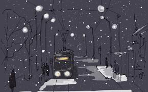 Картинка зима, город, рисунок
