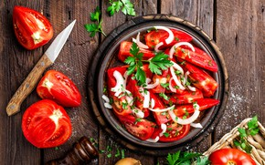 Картинка лук, помидоры, wood, петрушка, салат, разделочная доска