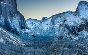 Картинка зима, иней, лес, небо, снег, пейзаж, горы, природа, скалы, вершины, ель, ели, склон, Калифорния, США, …