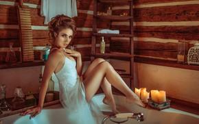 Картинка взгляд, девушка, поза, свечи, ванна, ножки, причёска, Janusz Żołnierczyk