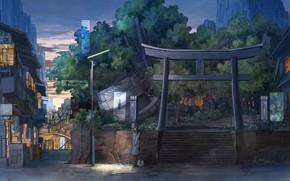 Картинка девушка, город, живопись