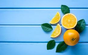 Картинка листья, фон, апельсин, цитрус