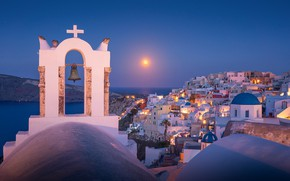 Картинка море, солнце, восход, рассвет, здания, дома, утро, Санторини, Греция, церковь, колокол, Santorini, Oia, Greece, Эгейское …