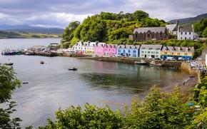 Картинка пейзаж, город, пролив, остров, дома, лодки, Шотландия, Ла-Манш, Скай, Портри