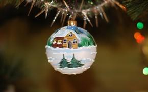 Картинка зима, снег, праздник, игрушка, рисунок, шар, шарик, Рождество, Новый год, домик, мишура, роспись, висит, боке, …