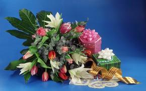 Картинка цветы, букет, подарки, коробки