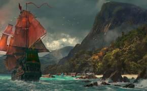 Картинка море, корабль, Горы, алые паруса.