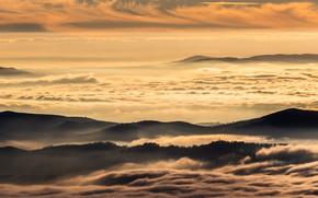 Картинка закат, горы, облока