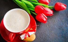 Картинка любовь, цветы, букет, сердечки, тюльпаны, красные, red, love, flowers, romantic, hearts, tulips, coffee cup, valentine's …