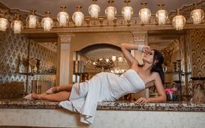 Картинка dress, legs, brunette, pose, white dress, Георгий Дьяков