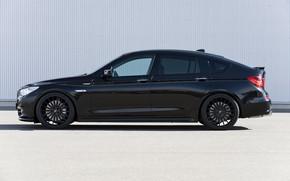 Картинка асфальт, стена, BMW, профиль, Hamann, 2010, диски, Gran Turismo, 550i, 5er, F07, 5-series, GT