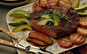 Картинка нож, мясо, вилка, блюдо, стейк