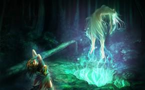 Картинка лес, ночь, волшебство, магия, тело, ритуал, мистика, ведьма, колдунья, призыв, зеленый свет, воскрешение, мир фантазий