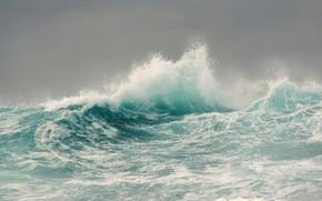 Картинка море, волны, шторм, Франция, France, Brittany, Бретань