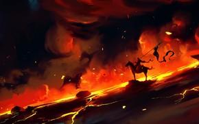 Картинка Дым, Огонь, Воин, Fantasy, Рыцарь, Concept Art, Dominik Mayer, Environments, by Dominik Mayer, 30 min …