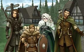 Картинка девушка, эльф, деревня, арт, герои, гном, лучник