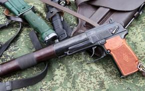 Картинка Кобура, Штык-нож 6x9-1, Пистолет бесшумный ПБ 6П9, Нож разведчика стреляющий НРС-2
