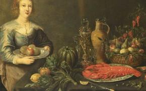 Картинка масло, портрет, картина, Monogrammist, Молодая женщина за столом с фруктами, 1675, Монограммист