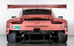 Картинка розовый, 911, Porsche, гоночное авто, вид сзади, RSR, 2018