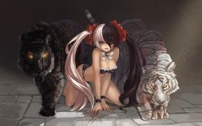 Картинка девушка, тигры, blade & soul, po hwa ran, magician (artist)