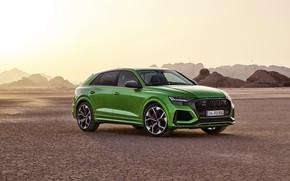 Картинка закат, Audi, пустыня, кроссовер, 2020, RS Q8