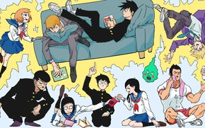 Картинка аниме, арт, персонажи, Mob Psycho 100, Моб психо 100